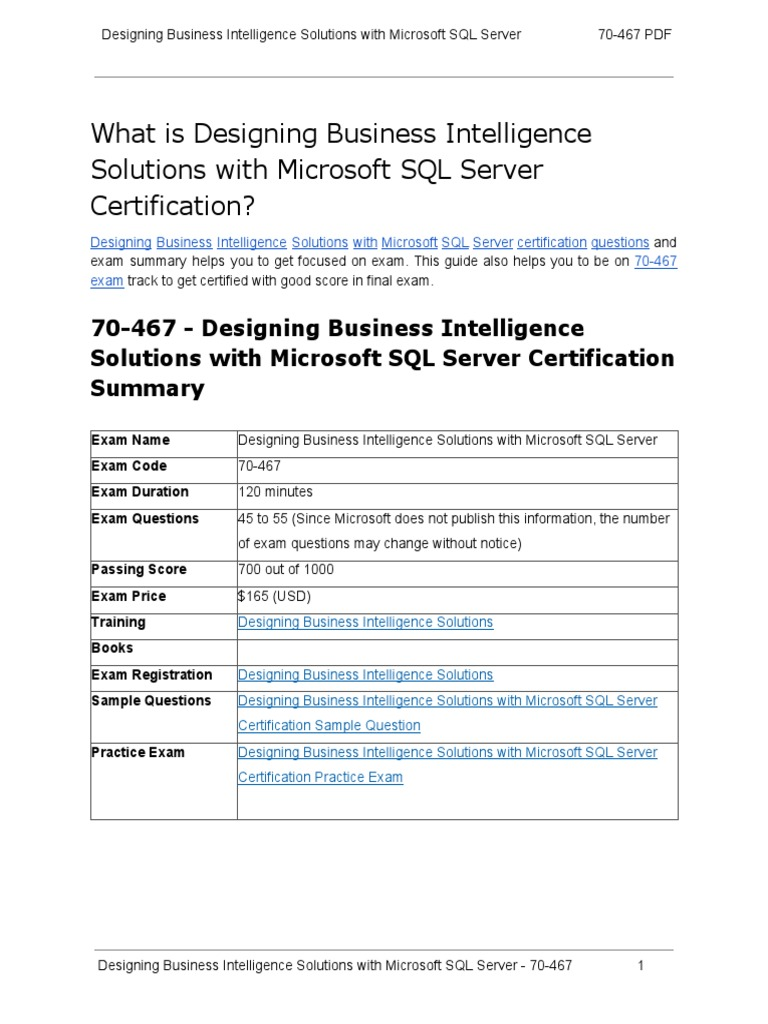 How To Prepare For 70 467 Exam On Designing Business Intelligence