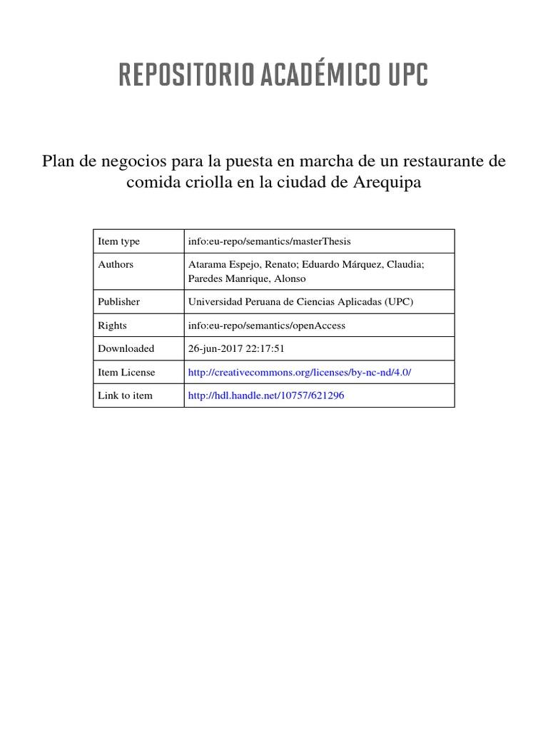 Plan de Negocios Restaurante Comida Criolla