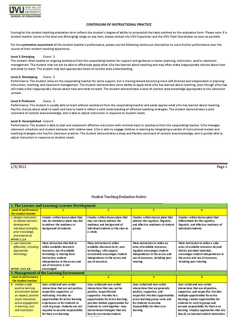 Studentteachingevaluationrubricpdf Educational Assessment