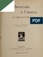 La theocratie à Genève au temps de Calvin