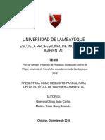 Tesis Plan de Gestion y Manejo de Residuos Solidos Del Distrito de Pitipo, Provincia de Ferreñafe