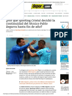 ¿Por Qué Sporting Cristal Decidió La Co... de Año Descentralizado Depor