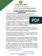 NOTA DE PRENSA N° 013 MIEMBROS DE PARTICIPACIÓN CIUDADANA DE LA PNP DE 12 DISTRITOS SERÁN CAPACITADOS EN GESTIÓN AMBIENTAL EN DEFENSA DEL AMBIENTE.docx