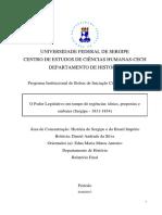 Relatório Final-O Poder Legislativo Em Tempo de Regências - Ideias, Propostas e Embates (Sergipe - 1831-1834)