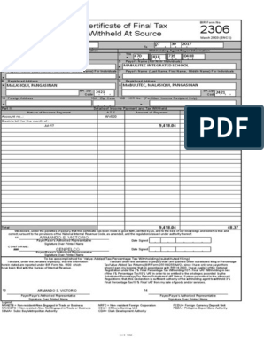 Form 2306 Witn Computation Electric Bill | Withholding Tax | Dividend