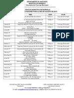 Agenda Agosto 2010 Concejo Municipal