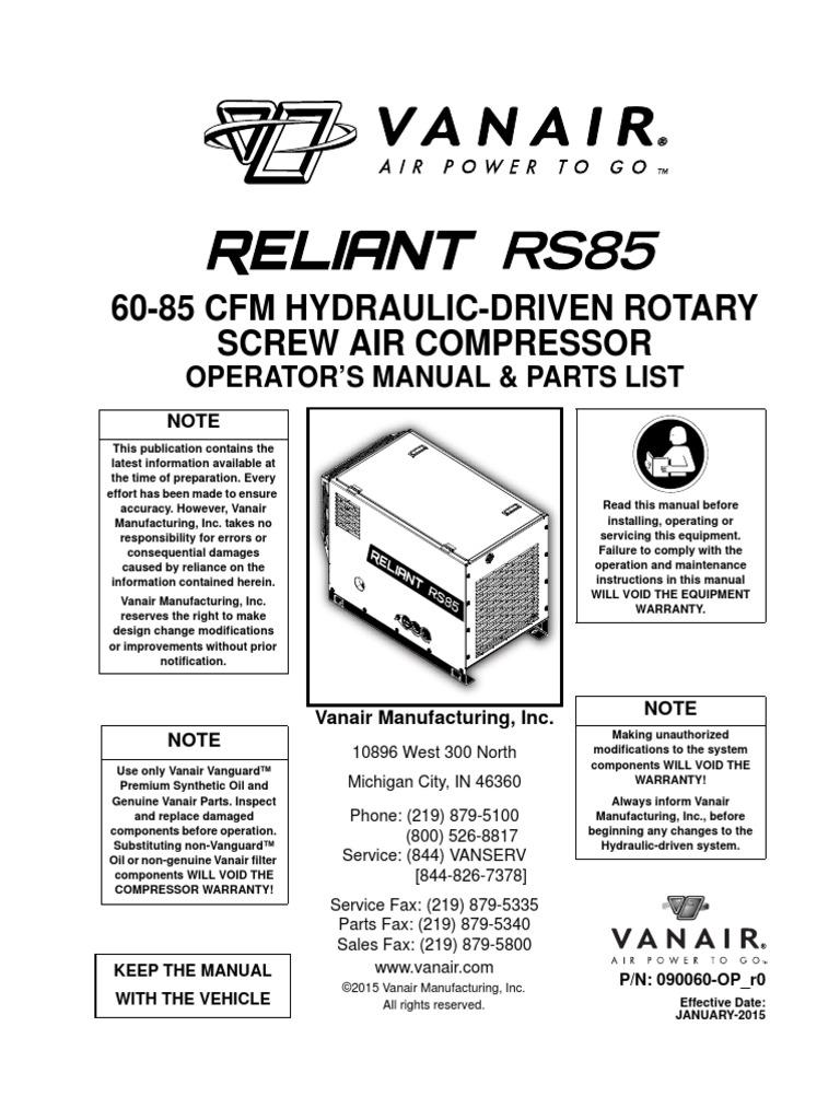 vanair compressor parts manual reliant electrical connector screw rh scribd com Simple Wiring Diagrams Residential Electrical Wiring Diagrams