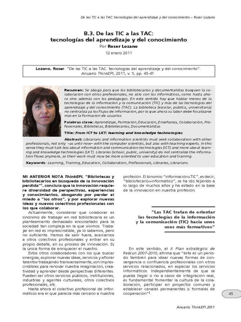 Lozano, R - De Las TIC a Las TAC, Tecnologías Del Aprendizaje y Del ...