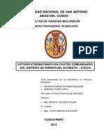 Etnobotanica en Cuatro Comunidades Del Distrito de Rondocan Acomayo Cusco TESIS UNSAAC