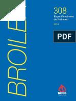 Especificaciónes de Nutricion Ross308broiler año 2014