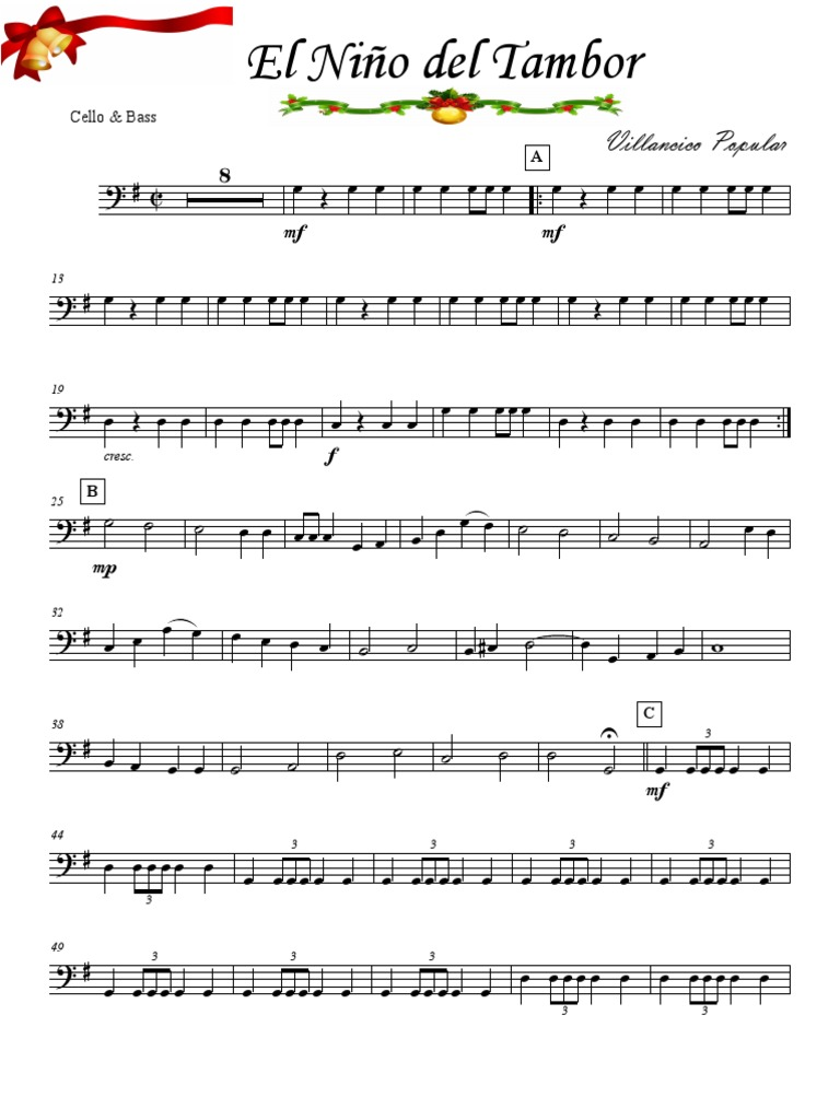El Niño Del Tambor Cello Bass Pdf