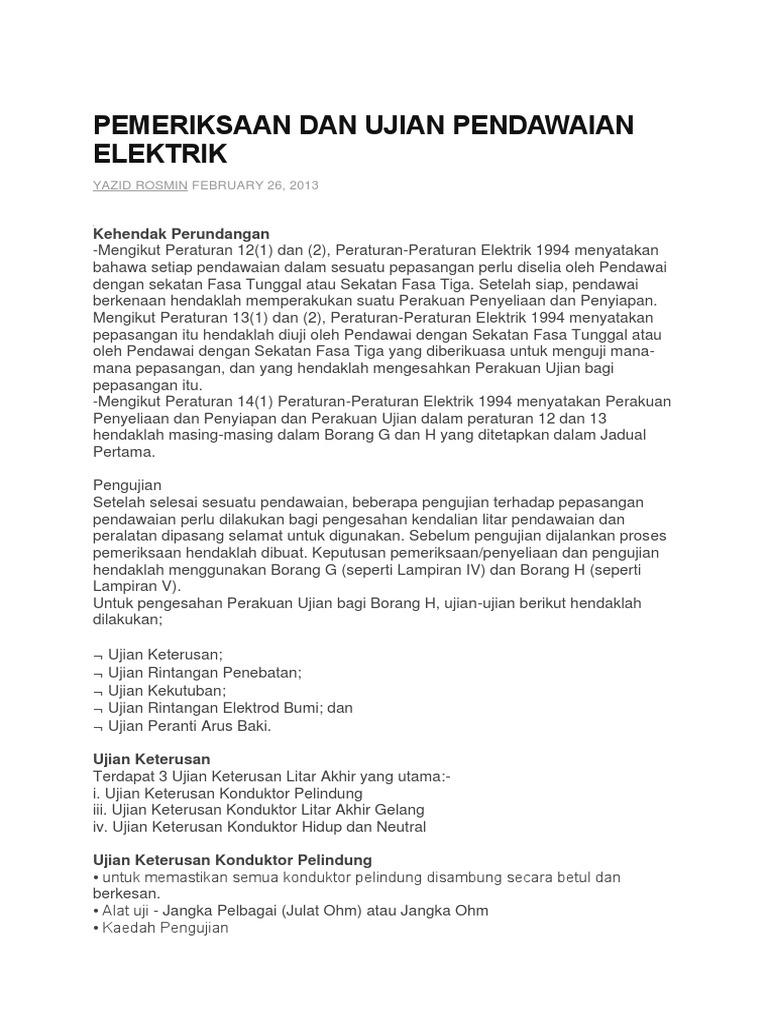 Pemeriksaan Dan Ujian Pendawaian Elektrik Docx