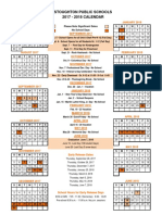 2017-2018 Stoughton School Calendar