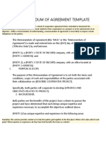 Memorandum of Agreement Template