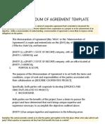 Memorandum of Agreement Template