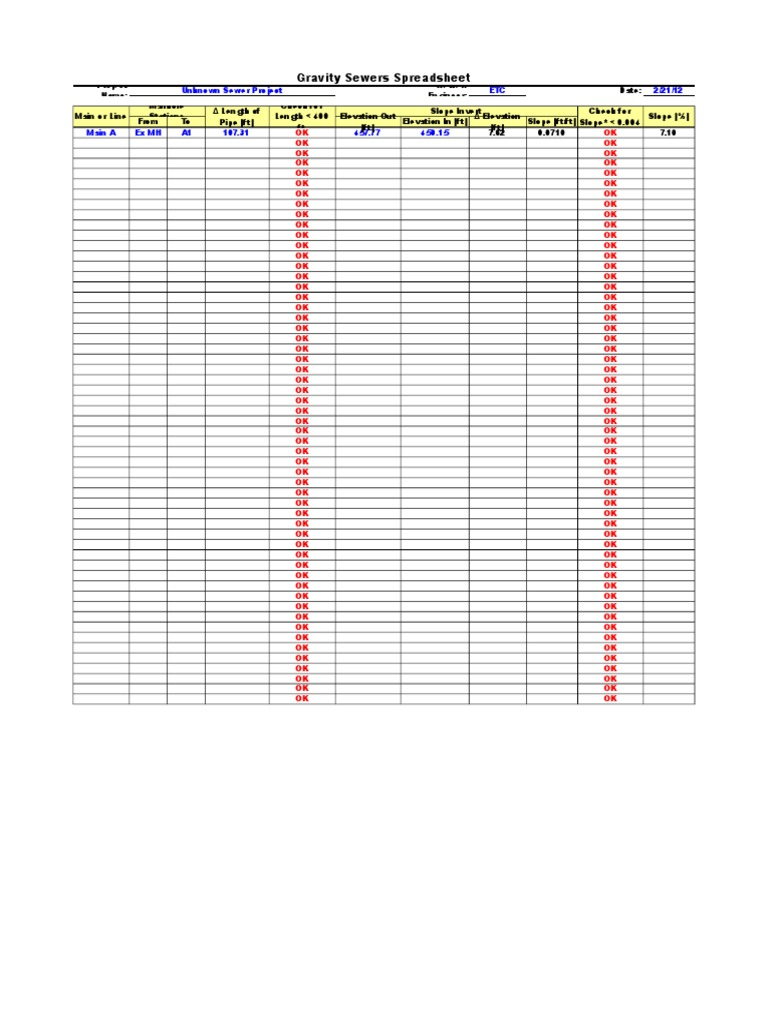 15-gravity-sewer-spreadsheet xls | Dynamics (Mechanics) | Classical