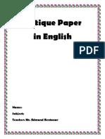 Critique Paper Beowulf