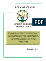Approved Moh Guidelines on Submission of Documentation for Registration of Human Pharmaceutical Products Rwanda