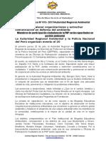 NOTA DE PRENSA N° 013 MIEMBROS DE PARTICIPACIÓN CIUDADANA DE LA PNP DE 12 DISTRITOS SERÁN CAPACITADOS EN GESTIÓN AMBIENTAL EN DEFENSA DEL AMBIENTE
