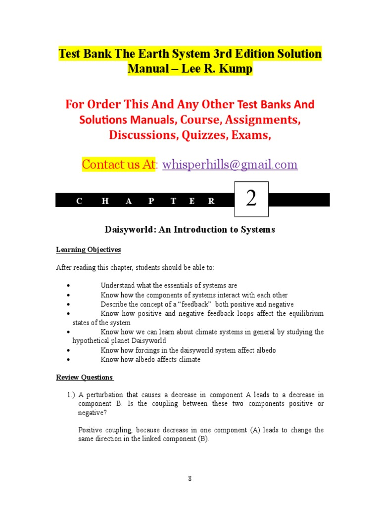Test Bank The Earth System 3rd Edition Solution Manual – Lee R. Kump.doc |  Carbon Dioxide In Earth's Atmosphere | Carbon Dioxide