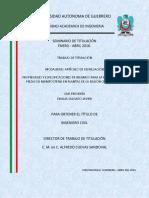 Propiedades y Especificaciones de Insumos Para La Produccion de Piezas de Mampostería en Plantas de La Región Chilpancingo.