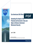 Assessing the Impact of the Financial and Economic Crisis and Ideas to Enhance Americans' Retirement Security