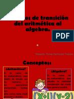 Procesos de Transición Del Aritmética Al Algebra