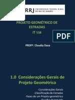 Slides Projeto Geométrico de Estradas - Claudia Daza