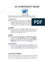 Features Of Microsoft Word