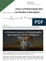 A Perseverança Dos Santos_ Posso Perder a Salvação