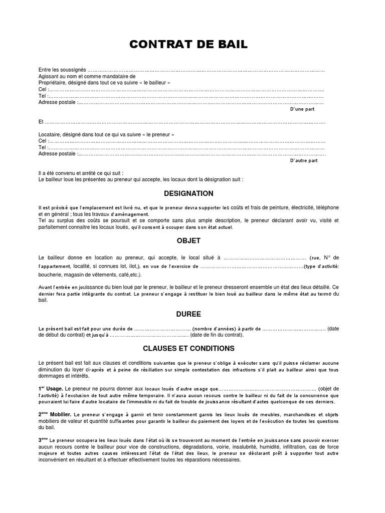 Contrat de bail type 1 - Office des proprietaires contrat de bail type ...