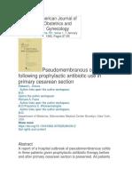 AJOG 1985 Colitis pseudomembranosa