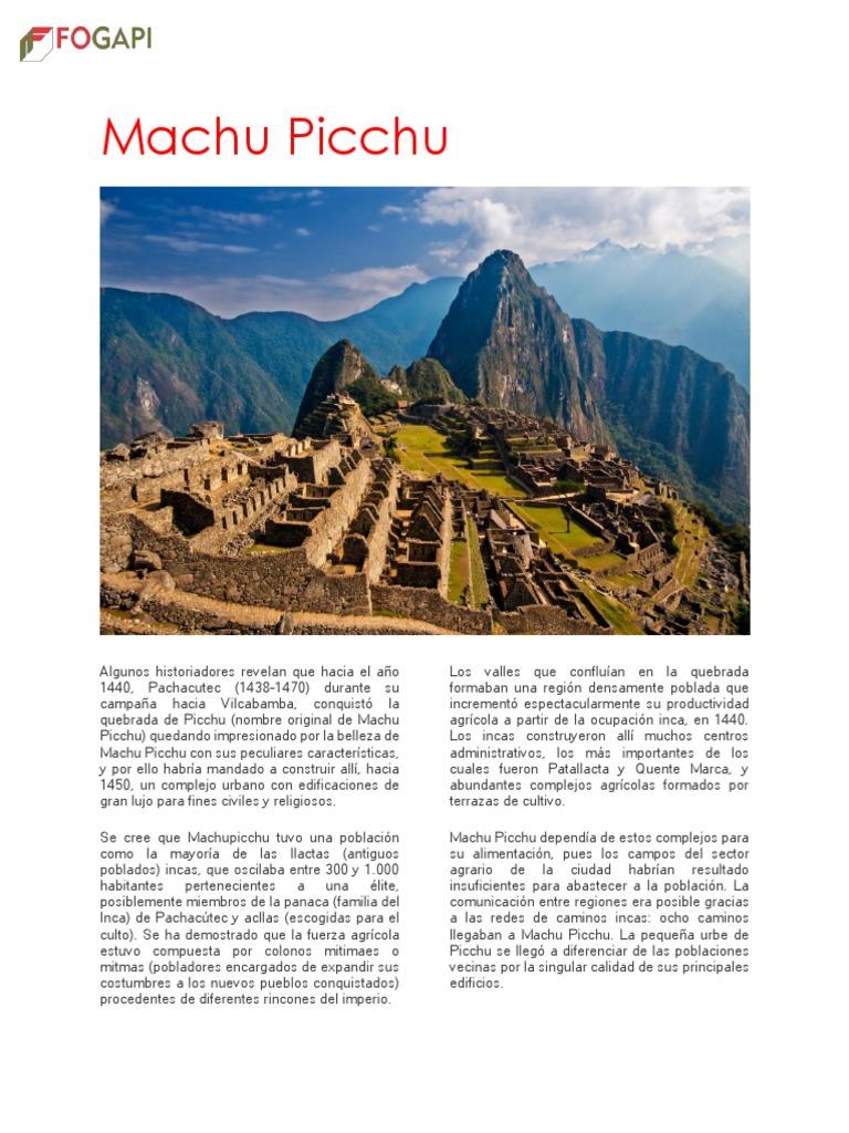 Machu Picchu2 H P Pdf Machu Picchu Imperio Incaico