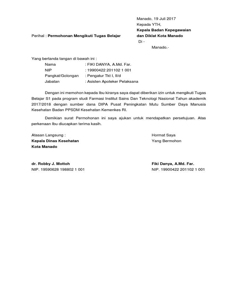 Surat Permohonan Tugas Belajar Suratmenuhargacom
