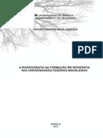 A biogeografia na formação em geografia nas universidade federais brasileiras
