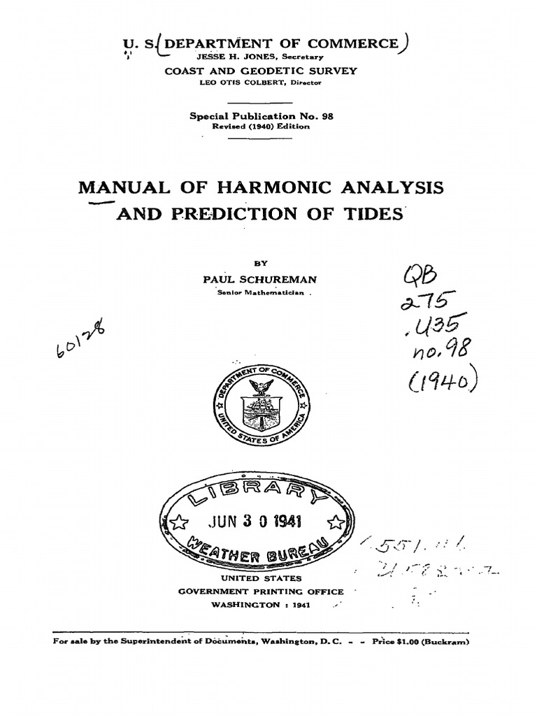 manual harmonic analysis and prediction of tides rotation astrometry rh es scribd com