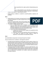 Notes - Strategic Planning in Healthcare Organizations