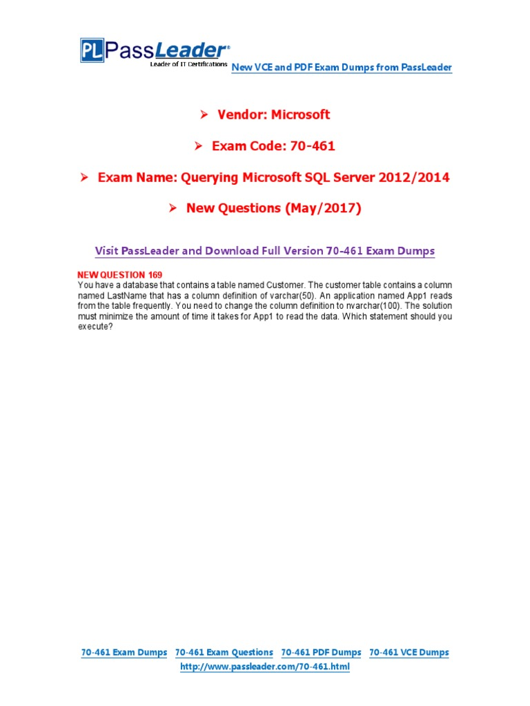 May 2017 New Passleader 70 461 Exam Dumps Table Database