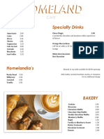 Homeland Cafe Menu