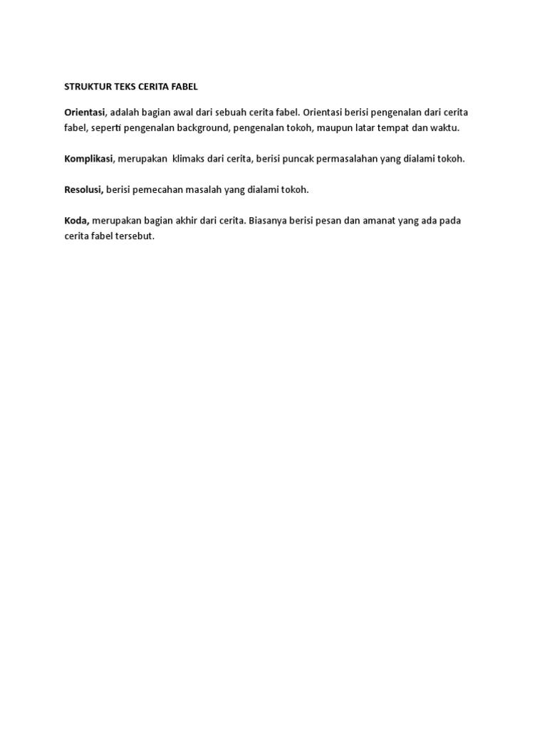 Struktur Teks Cerita Fabel