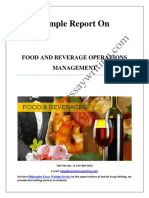 Sample Report on Food and Beverage Operations Management By Instant Essay Writing