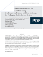 2014 Updated Recommendations for Preschool Vision Screening Guidelines for Filipino Children Entering the Philippine Public School System