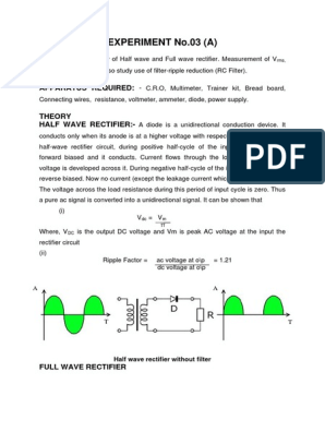 Half Wave and Full Wave Rectifier | Rectifier | Electricity