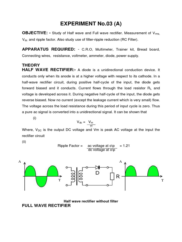 Half Wave And Full Rectifier Electricity Ac Current Measurement Circuit