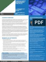 Cybersecurity Management Principles 11 - 14 Sept 2017 KL, Malaysia / 17 - 20 Sept 2017 Dubai, UAE