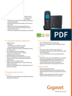 Siemens Gigaset A540iP Analogue & VOIP Cordless Phone Datasheet