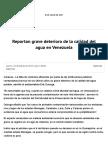 Reportan Grave Deterioro de La Calidad Del Agua en Venezuela _ NTR Zacatecas