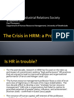 The Crisis in HRM Market Rationality Thompson