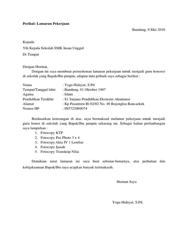 Contoh Surat Lamaran Kerja Guru 1 Docx