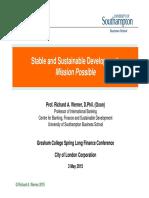 Richard Werner Stable and Sustenable Development -Gresham College 3 Mar 2015